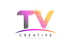 TV T V Letter Logo Design with Magenta Dots and Swoosh Stock Photos