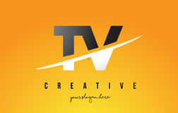 TV T V Letter Modern Logo Design with Yellow Background and Swoo Royalty Free Stock Images