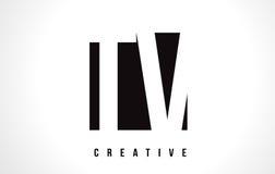 TV T V White Letter Logo Design with Black Square. Stock Image