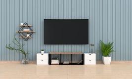 TV, tabla en piso de madera en la sala de estar, representación 3D Fotos de archivo libres de regalías