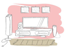 Tv table. Vector illustration of interior, tv table Royalty Free Stock Photo
