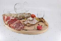 Wine bar, tapas, grape harvest and Beaujolais new wine and charcuterie royalty free stock images