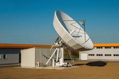 TV telecommunications engineering. Satellite Earth Station Dish. TV antenna in communication center . Telecommunications engineering Stock Photos