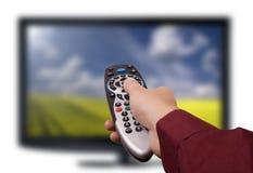 TV teledirigida. Televisión LCD plano. Imagen de archivo