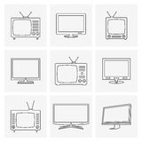 TV thin line icons set Royalty Free Stock Image