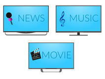 TV. Three tv set with music, news and movies screen Royalty Free Stock Image
