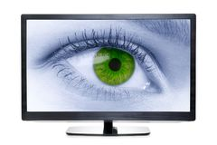TV with toned eye isolated. Wide screen TV with toned eye on the screen. Isolated on white stock image