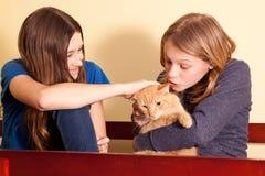 Två tonår med den orange katten Fotografering för Bildbyråer
