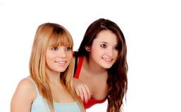 Två tonåriga systrar Arkivfoto