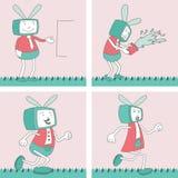 TV Toon Character Set 4 Stock Afbeeldingen