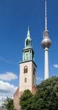 TV-Toren Berlin Marienkirche Church Royalty-vrije Stock Afbeelding