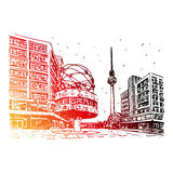 TV-toren en wereldklok bij Alexanderplatz-station, Berlijn, Duitsland Vector Illustratie