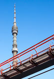 TV Tower. And fragment light rail. Moscow. Russia Royalty Free Stock Image
