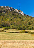 TV tower above beautiful cliffs, forrest & fields Stock Photography