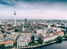 Tv Tower in Berlin. Aerial view of city and river Spree Royalty Free Stock Photography
