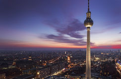 TV tower of Berlin at Alexanderplatz. View on TV tower and skyline of Berlin at Alexanderplatz during sunset Royalty Free Stock Image