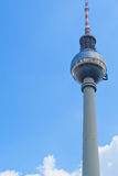TV Tower in Berlin on the blue sky background. The building in the center of the Germany capital. Royalty Free Stock Photo