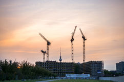 Tv tower in berlin at evening time with construction area Royalty Free Stock Image
