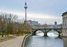 TV Tower, Berlin, Germany. Berlin, Germany - December 30, 2017: TV Tower `Alex`. Festively decorated streets and cafes of Berlin Royalty Free Stock Photos