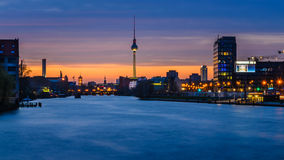 Tv tower in berlin, germany, at night. View from oberbaum bridge Royalty Free Stock Photography