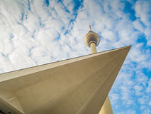 TV Tower in Berlin with modern architecture. TV Tower in Berlin with the roof of a modern building Stock Photography