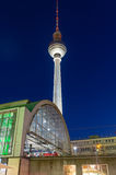 TV-tower in Berlin at night Royalty Free Stock Images