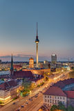 The TV Tower in Berlin at night Stock Image