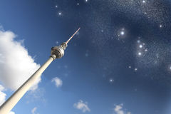 TV Tower in Berlin under the Stars. The TV Tower in Berlin under the Stars Royalty Free Stock Image