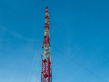 TV Tower on blue sky. TV Tower in the blue sky. Bottom view Stock Images