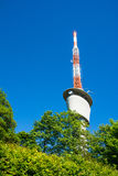 TV Tower on Blue Sky Green Trees Sunny Summer Wireless Communica Royalty Free Stock Photo