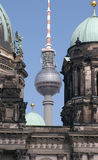 TV Tower and cathedral. View between Berlin Dome to Berlin TV-Tower royalty free stock image
