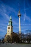 The TV Tower and Church St. Mary in Berlin .Germany Stock Photos