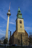 The TV Tower and Church St. Mary in Berlin .Germany Royalty Free Stock Photos