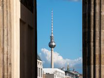 TV Tower Between Columns of Brandenburg Gate In Berlin. Germany royalty free stock image