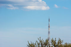 TV Tower is in the country under the clouds. Royalty Free Stock Image