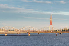 TV Tower and the Daugava river Stock Photo