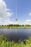 Tv-tower in Dutch landscape Royalty Free Stock Photo