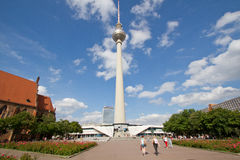 TV tower or Fernsehturm in Berlin, Germany. BERLIN, AUGUST 6: Panoramic view of Berlin TV tower or Fernsehturm , Alexanderplatz, Germany on August 6, 2012 Royalty Free Stock Photography