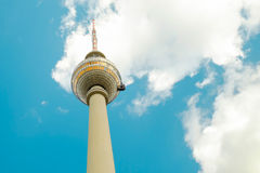 TV Tower - Fernsehturm - in Berlin, Germany. TV Tower - Fernsehturm - with blue sky and white clouds on the background in Berlin, Germany Royalty Free Stock Photography