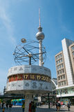 The tv Tower Fernsehturm and the famous World Clock at Alexanderplatz in Berlin Stock Image
