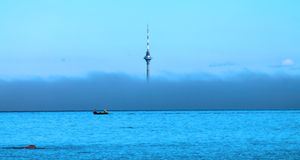 TV Tower in the fog Royalty Free Stock Images