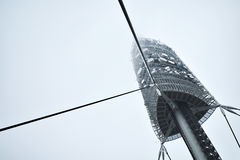 TV tower in foggy day Stock Photo