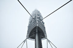 TV tower in foggy day royalty free stock photos