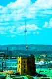 Tv tower and Gediminas Castle stock photo
