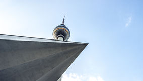 The TV Tower located on the Alexanderplatz in Berlin, Germany. Fernsehturm Stock Photo