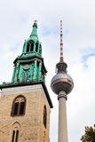 Tv tower and marienkirche in Berlin Stock Images