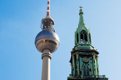 Berlin - TV Tower and Marienkirche Stock Photography