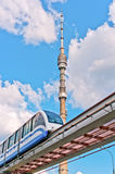 TV tower and monorail train. TV tower Ostankino and monorail train, Moscow, Russia, East Europe royalty free stock photos