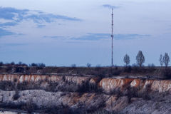 TV tower on Mount Karachun. Slavyansk, Ukraine. It's gone - destroyed by terrorists royalty free stock images
