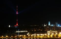 TV tower at night Stock Images